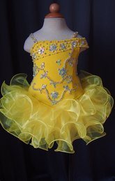 Wholesale Infant Spaghetti Strap - 2015 Lovely Yellow Glitz Little Girl Pageant Dress Spaghetti Straps Crystal Beaded Ruffle Short Kids Infant Party Gowns