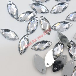 Wholesale Sewing Clothing Accessories Rhinestone - 2000pcs set 10x5mm Flat Back Clear Navette Sew-On Rhinestones Jewels High Quality Pro Grade Clothing Accessories