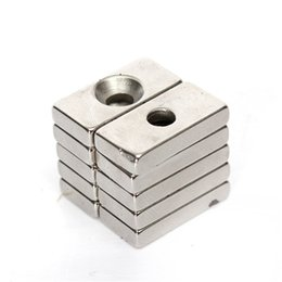 Wholesale Neodymium Magnets Holes - 10pcs N35 Strong Block Cuboid Permanent Neodymium Magnets rare earth magnets 20x10x4mm with a Hole for DIY