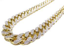 Wholesale Diamond Round Cut - 14k Yellow Gold 18.00ct Round Cut Prong Set White Diamond Solid Cuban Link Chain
