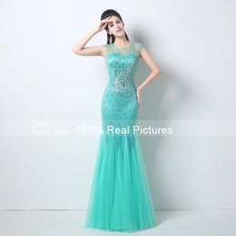 Wholesale Turquoise Mermaid Party Dresses - Cheap dresses party evening 2015 Sheer Scoop Evening Gowns Beads Sequined Mermaid Floor-Length Turquoise Tulle Prom Gowns GD-004