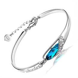 Wholesale Diamond Bangle Bracelet Silver 925 - New Style Luxurious Blue Austria Diamond Bangle Bracelet 925 Sterling Silver Glass shoes Bracelet High Quality Free Shipping