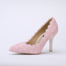 Wholesale Ivory Bridal Shoes Cheap - Pointed Toe Wedding Shoes Pink Lace Flower with Ivory Pearl Heel Fashion Sexy Women Bridal Dress Shoes Cheap Bridesmaid Shoes