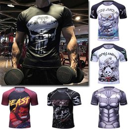 Wholesale Quality Tights - Men sport T shirt Yoga Gym clothes High Quality Fitness Mens Compression short sleeve Bodybuilding Tights Tops Male Quick drying shirt