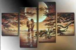 Wholesale Sexy Nude Wall Art - Free shipping hand painted modern Art Wall home decor Canvas oil painting Dance Lovers Sexy nude abstract oil paintings 4pcs Set