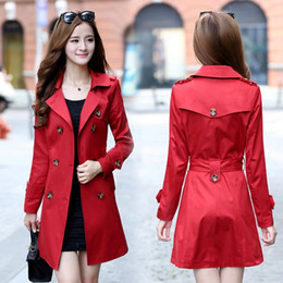 Wholesale Womens Coat Xl Elegant - Wholesale-Autumn Winter Elegant Long Belted Trench Coat Red Plus Size Womens Double Breasted Coat S-2XL