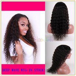 Wholesale Cheapest Ties - Cheapest Lace Front Wigs Brazilian Virgin Hair Deep Wave Wavy 100% Human Hair Glueless Full Lace wigs Natural Hairline With Free Shipping