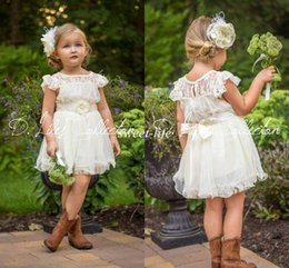 Wholesale Chiffon Flowers Junior Bridesmaid Dress - 2015 Cute Flower Girl Dresses Lace Sash Sheer Neck A-Line Ivory Custom Made Mini Short Kids Summer Beach Wedding Junior Bridesmaid Dresses