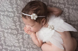 Wholesale Thin White Ribbon - Baby Angel Wing + pearl diamante flower Thin Elastic headband Set newborn Pretty Angel Fairy white feathers Wing Costume Photo Prop YM6110