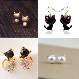 Wholesale Kitty Girl Vintage - new fashion girls vintage designer gold silver black realistic cat Kitty ear stud earring for women brinco de meninas
