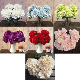 Wholesale Floral Garden Fake Flowers - Mutli Color 5 Flower Heads Artificia Silk Fake Flower Bouquet Wedding Party Garden Floral Hydrangea FZH058