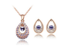 Wholesale Wedding Decoration Imports - Explode a style of luxurious best-selling Austria imports a crystal-India princess The ear nails necklace set decorations freeshiping