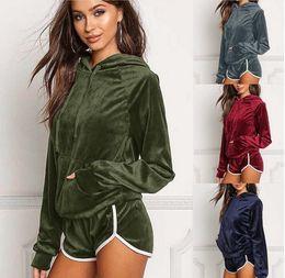 Wholesale Velvet Sportswear - Velvet Tracksuit Hooded Short Pants Set Jogging Set Long Sleeve Hoodies Tops Shorts 2pcs Sportswear 5 Sets OOA3416