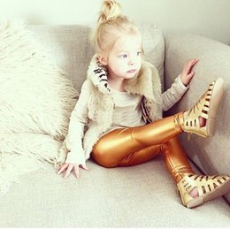 Wholesale Black Leggings Pockets - Everweekend Girls Ins Hot Sell Candy Leggings Pants Gold Silver Black Color Autumn Spring Fashion Pants Cute Children Clothing