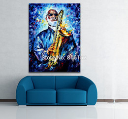 Wholesale Clown Music - Modern Palette Knife Painting Jazz Music Musician Clown Soul Play Picture Printed On Canvas For Home Office Wall Decor Art