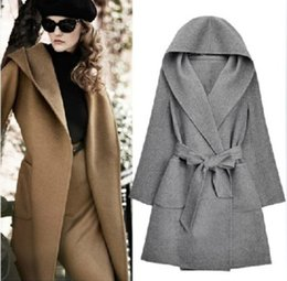 Wholesale Women S Cape Coats - European Fashion Winter Hooded Long-Sleeved Cashmere Overcoats Bow Belt Mustard Yellow Cardigan Shawl Cape Wool Coat A19