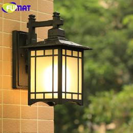 Wholesale Black Door Knobs - New Chinese Vintage Outdoor Waterproof Wall Lamp Balcony Corridor Aisle Wall Light Fixture Home Door Front Black Aluminum Sconce