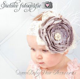 Wholesale Satin Poppy Flowers - Grey Layered Poppy Flower Matching Satin Rosette Baby Girl Headband Couture Headband Luxe Headband 6pcs lot
