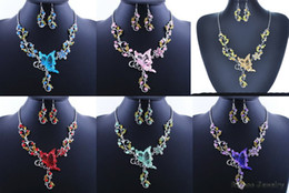 Wholesale Purple Blue Flowers - 6 Colors Women Butterfly Flower Rhinestone Pendant Statement Necklace Earrings Jewelry Set Fashion Jewelry Bridal Wedding Dress Jewelry Sets