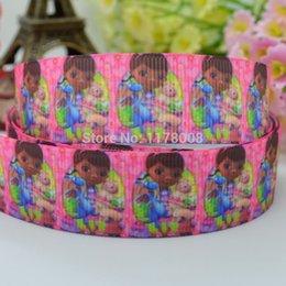 "Wholesale Grosgrain Printed Ribbon Doc - 50Y Free shipping 7 8"" 22mm Doc McStuffins Printed grosgrain ribbon,hairbow DIY handmade clothing materials wholesale OEM"