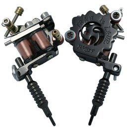 Wholesale Art Casting Materials - Professional Casting Iron Tattoo Machine 10 Wraps coil stainless steel Tattoos Body Art Gun Makeup Tool 1101905-1