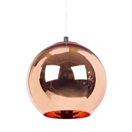 Wholesale Knob Copper - Modern Tom Dixon Copper Glass Ball Pendant Lamp E27 LED Para Quartos Pendant Light Fixture Kitchen Home Lighting lustres de sala