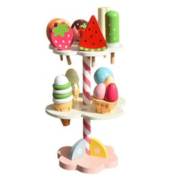 Wholesale Wooden Toys Cake - Wholesale- Kids Play House Toy Wooden Simulation Ice Cream Three Layers Cake Kids Toy Cute