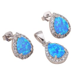 Wholesale Wonderful Jewelry - Wonderful design blue fire opal 925 sterling silver stamp Fashion jewelry set for Engagement Brand Jewelry Sets OS002