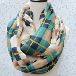 Wholesale Mixed Scarves For Women - 2015 New Style Free shipping Women`s Tartan Printed Infinity Scarf Plaid Scarves Women Accessories Gift for her Colors Can Be Mixed