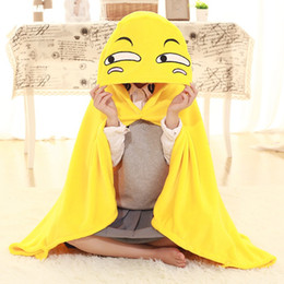 Wholesale Cartoon Shawl - Emoji Cloak Comfortable Cartoon Yellow Smiley Face Blanket Lovely Funny Shawl For Children Christmas Gifts 21pp C R