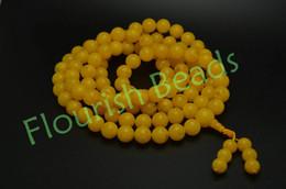 Wholesale Round Amber Beads - Tibetan Style 12mm Yellow Synthetic Amber 108 Round Smooth Beads Charm Fashion Man Prayer Mala Bracelets Bangle Jewelry Gift