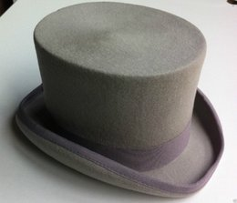 Wholesale Victorian Top Hat Men - Wholesale-New Gray men hat 100% Wool Victorian Mad Hatter Top Hat Adult SIZE 55CM S