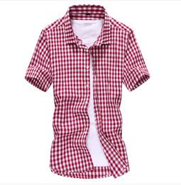 Wholesale Men Dress Shirts New Style - New 2016 Summer Oxford Style Men Plaid Shirts Short Sleeve Camisas Hombre Slim Fit Casual Cotton Mens Dress Shirt Plus Size 5XL