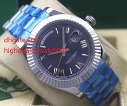 Wholesale Eta Movement Watches - Top High Quality DayDate 40 PRESIDENT Blue Roman Stainless Steel 228239 Asia ETA Movement Automatic Mens Watch Watches