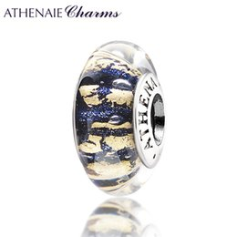 Wholesale Dark Blue Murano Glass Beads - Wholesale-ATHENAIE Genuine Murano Glass 925 Silver Core Dark Blue Sand with Gold Foil Charm Bead Fit All European Bracelets