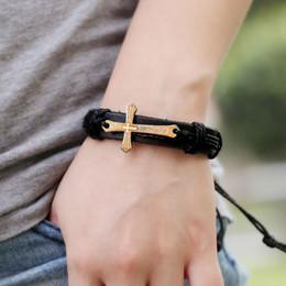 Wholesale Vintage Bibles - Vintage Style Jewelry Men Cross Bible Verse Cowhide Braided Bracelet