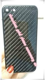 Iphone preto de carbono on-line-Para iphone7 preto matt voltar tampa da carcaça assembléia peças de reposição com fibra de carbono real caso tampa traseira