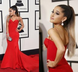 Wholesale Ariana Grande Dresses - 2016 58th Grammy Awards Ariana Grande Evening Dresses Red Mermaid Evening Gowns Covered Button Spaghetti Strapless Satin Celebrity Dresses