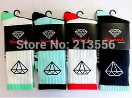 Wholesale High Over Knee Socks - Wholesale-8pcs=4pair Hot Sell Diamond Socks High Quality Brand Cotton Long Skateboard Basketball Stockings Men's Sport Socks