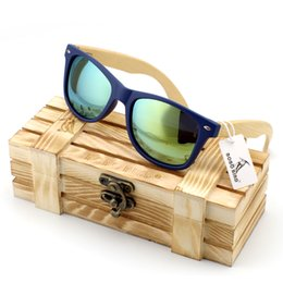 Wholesale Vintage Colorful Box - Wholesale-Men's Bamboo Wood Sunglasses in Vintage Style with Plastic Frame and Polarized UV Protection Colorful Lens In Gift Box