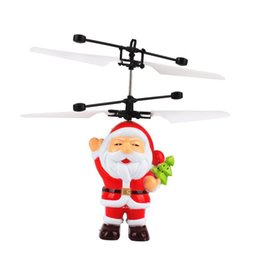 Wholesale Infrared Red Sensor - Christmas Santa Claus Airplane Flying Ball Toys Remote Control Helicopter Electric Infrared Sensor RC Helicopter Drone Toy Kids Gift