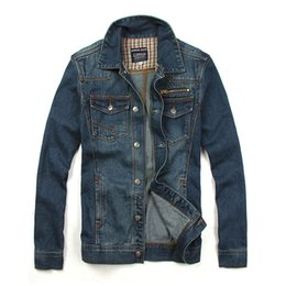 Jaquetas curtas de jean azul on-line-Queda-2015 Nova Chegada Jaqueta Jeans Homens Jean Jaqueta Azul Para Os Homens Ao Ar Livre Desgaste Casaco Jaqueta Casuais Casaco Curto Para Homens Frete Grátis