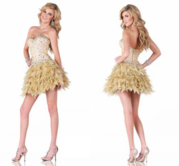 Wholesale Red Feather Corset - 2017 Vintage Champagne Cocktail Party Dresses Sexy A Line Sweetheart with Sparkling Beading Corset Back Feathers Short Homecoming Dresses