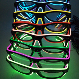 Wholesale El Wire Purple - Fashion EL Led glasses El Wire Neon LED Light Wedding Christmas Holiday Rave Costume Party Gift Bule Green Yellow Pink Red Purple Light