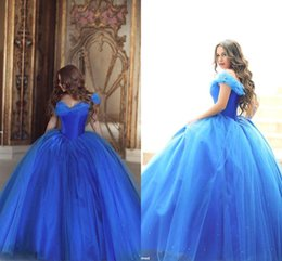 Wholesale White Cinderella Gowns - 2016 Cinderella New Evening Formal Dresses Vintage Off the Shoulder Royal Blue Beaded Tulle Floor Length Bridal Gowns Prom Dresses BO8824