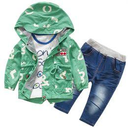 Wholesale Girls Autumn 3pc - Autumn Spring Kids Boys Girl's 3pc Suits Jacket+T-shirt+Pants,Letter Pattern Jacket 2 Colors 4s  free shipping