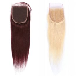 Wholesale blonde lace top closure - 4*4 Human Hair Lace Closure with Baby Hair 99j   613 100% Brazilian Remy Straight Hair Swiss Lace Top Closure FDSHINE
