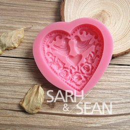 Wholesale Bird Molds - 3D M0103 heart bird love cake molds soap chocolate mould for the kitchen baking clay mold