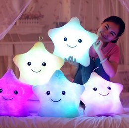 Wholesale Led Glow Pillow - 2015 Colorful Decorative LED Pillow Luminous Star Shape Plush Pillow Glow Cushion Light Sofa Free Drop Shipping For Children Birthday WI04