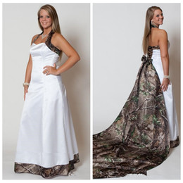 Wholesale Custom Wedding Dresses Online - Halter Camo A-Line Wedding Dresses With Long Detachable Camo Cathedral Train Long Formal Bridal Gowns Custom Made Online Vestidos 2016 Cheap